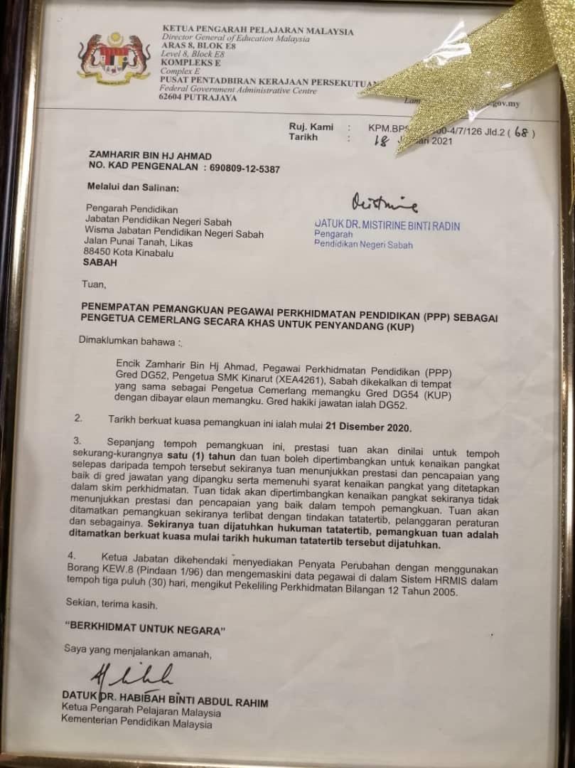 Ucapan Tahniah Kepada En Zamharir Hj Ahmad Pengetua Cemerlang DG54 SMK Kinarut Papar